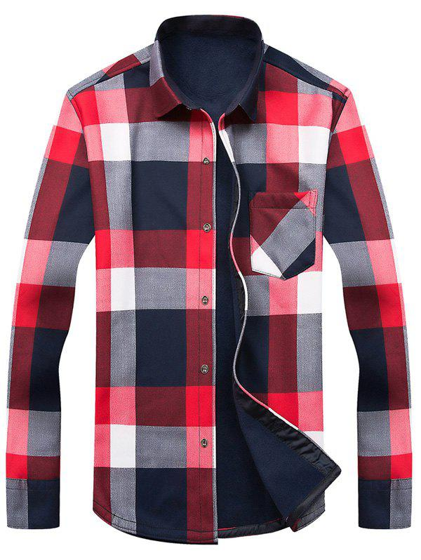 Image of Long Sleeve Color Block Tartan Fleece Shirt