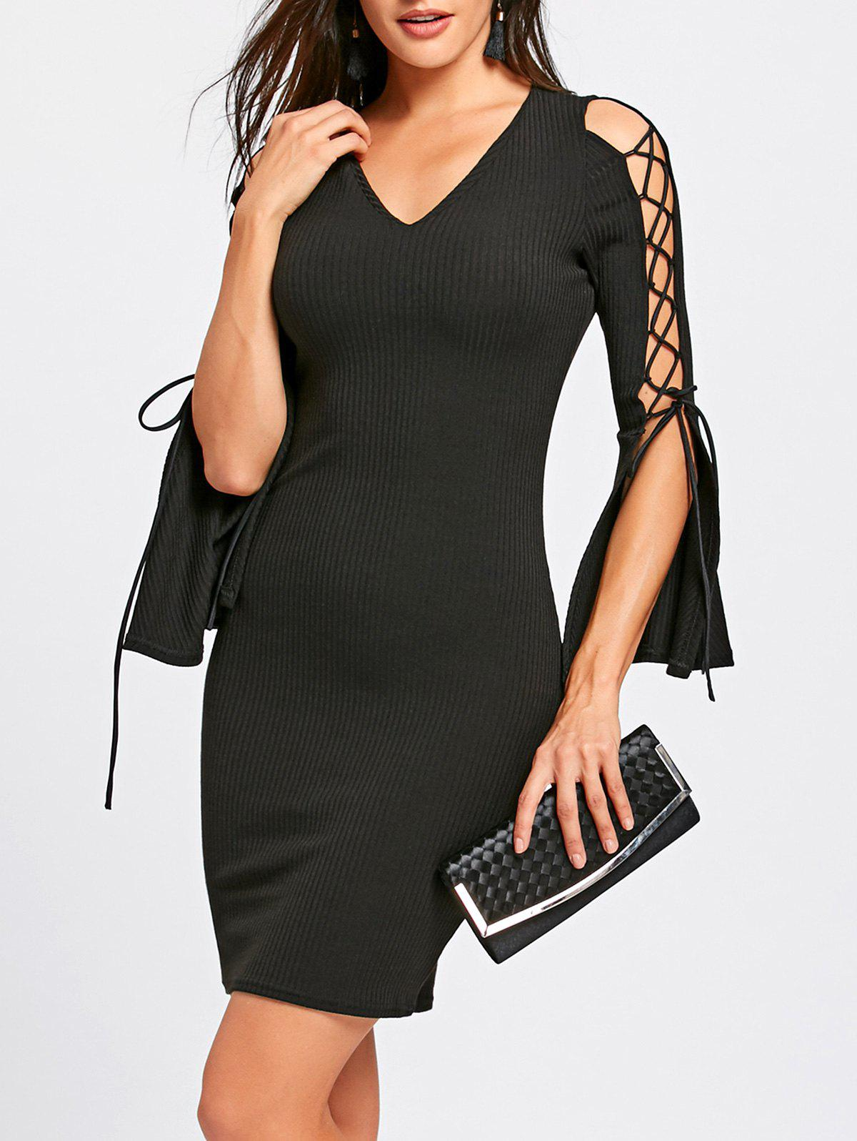 Lace Up Split Sleeve Bodycon Dress 235126802