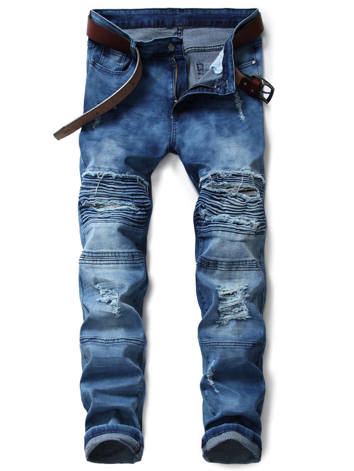 Zip Fly Tie Dye Distressed Biker Jeans 236004401