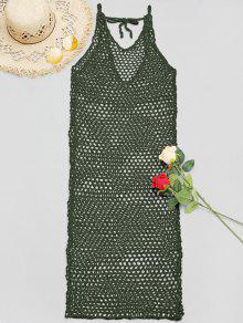 Vestido De Cobertura De Ganchillo Con Cuello En V - Verde Del Ejército