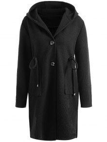 زائد حجم الرباط الخصر طويل معطف مقنعين - أسود 5xl