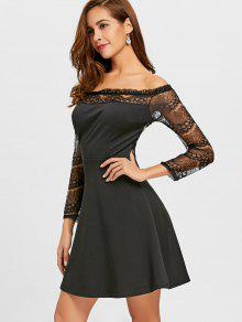 29dcaeae5d07 27% OFF  2019 Off The Shoulder Lace Panel Flare Dress In BLACK