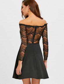 66440810716 27% OFF  2019 Off The Shoulder Lace Panel Flare Dress In BLACK
