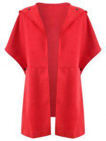 معطف الحجم الكبير مع غطاء الرأس - أحمر 2xl