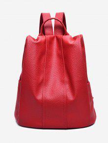 حقيبة ظهر من الجلد المزيف مع مقبض علوي - أحمر