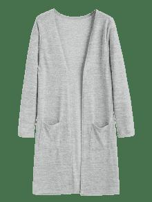 Open Longline Cardigan With Pockets GRAY: Sweaters ONE SIZE | ZAFUL
