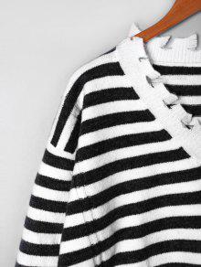 224c1ea874 57% OFF] 2019 Striped Drop Shoulder Ripped Sweater In BLACK STRIPE ...