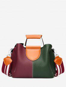 Bolsa De Costura De Cor Contrastante De Couro Falsificado - Vermelho E Verde