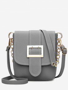 Cadeia De Fivela Strap Faux Leather Crossbody Bag - Cinza