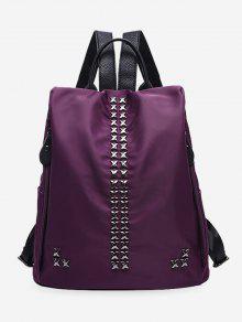 حقيبة ظهر مزينة بمسامير على شكل إشارة الضرب - أرجواني