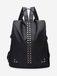 حقيبة ظهر مزينة بمسامير على شكل إشارة الضرب - أسود