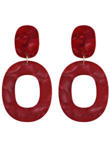 الراتنج البيضاوي أقراط هندسية - أحمر