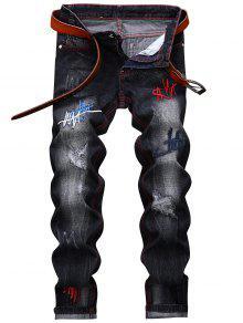 مستقيم الساق التطريز الجينز المتعثرة - أسود 38