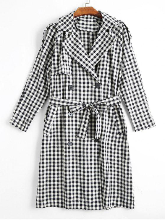 shop Double Breasted Back Slit Belted Checked Coat - CHECKED S