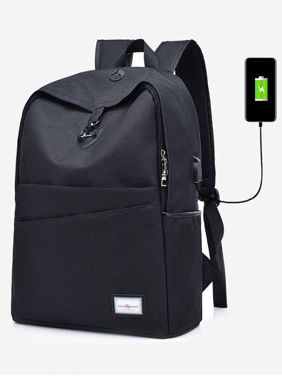 Multi-função USB Charging Port Backpack - Preto