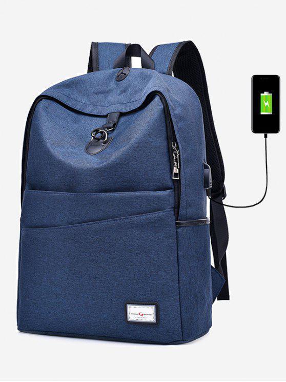 Mochila con puerto de carga USB de múltiples funciones - Azul