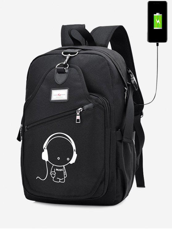 hot USB Charging Port Luminous Cartoon Print Backpack - BLACK