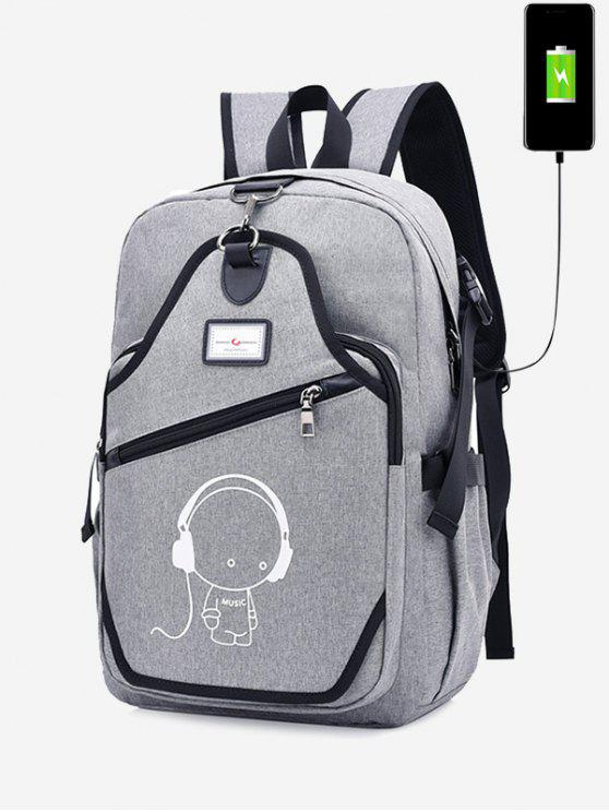 outfits USB Charging Port Luminous Cartoon Print Backpack - GRAY