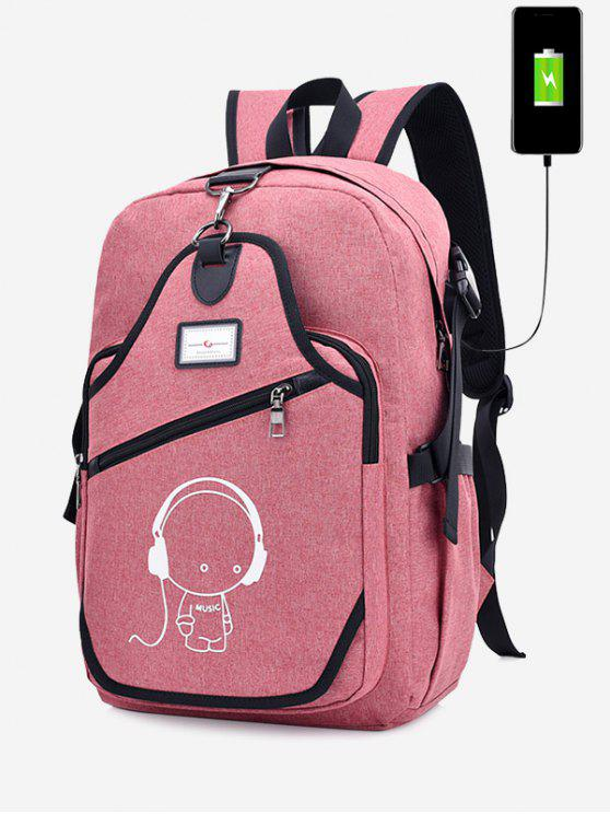 Porta de carregamento USB Luminous Cartoon Print Backpack - Rosa