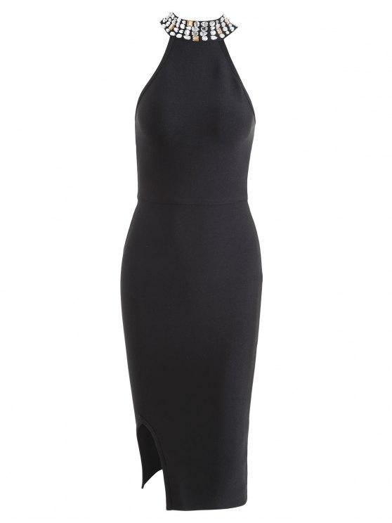 women Rhinestone Embellished Slit Bandage Dress - BLACK S