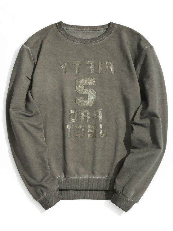 trendy Vintage Graphic Crew Neck Sweatshirt - GRAY L