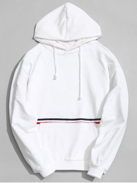 women's Kangaroo Pocket Striped Hoodie Men Clothes - WHITE L