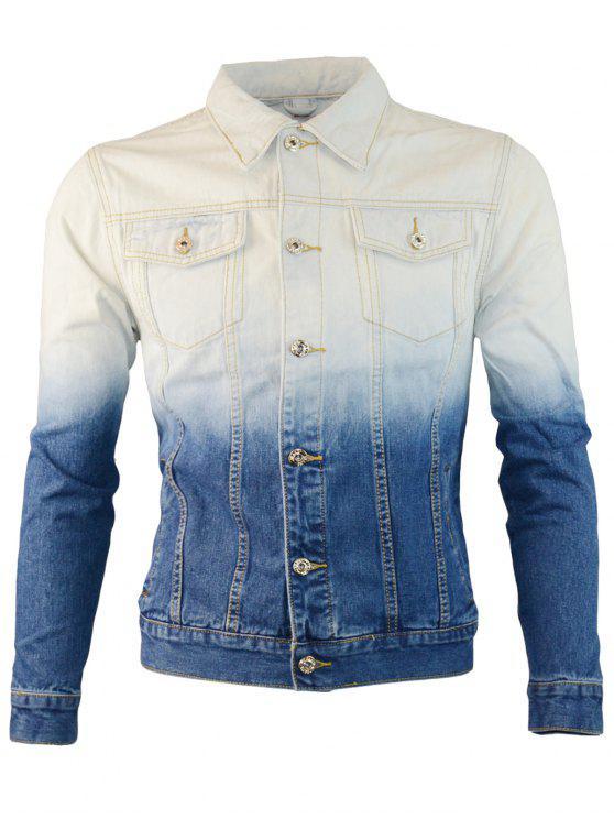 women's Two Pocket Dip-dye Denim Jacket - BLUE 2XL
