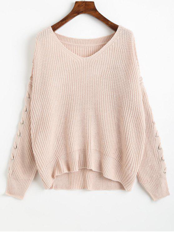 chic V Neck Lace Up Sleeve Chunky Sweater - LIGHT PINK ONE SIZE