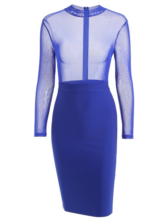affordable Sheer Mesh Panel Bandage Dress - ROYAL M