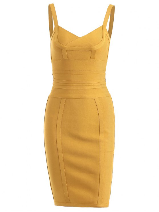 hot Back Zippered Belted Cami Bandage Dress - GINGER L