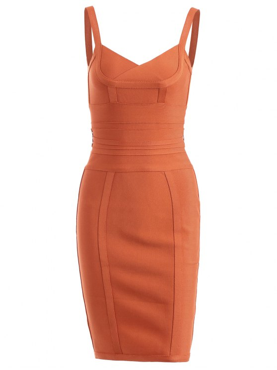 chic Back Zippered Belted Cami Bandage Dress - ORANGE M