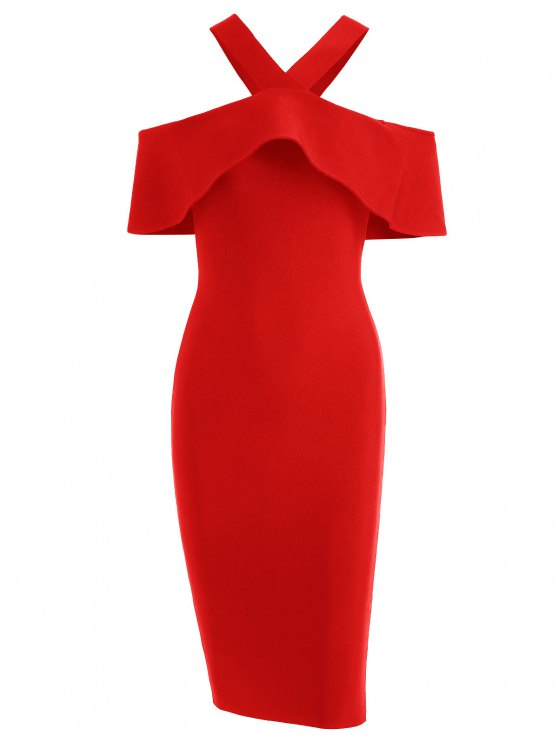 affordable V Neck Flounce Hem Bandage Dress - RED S
