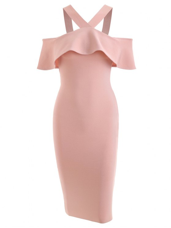 fancy Ruffled Bodycon Prom Dress - PINK S
