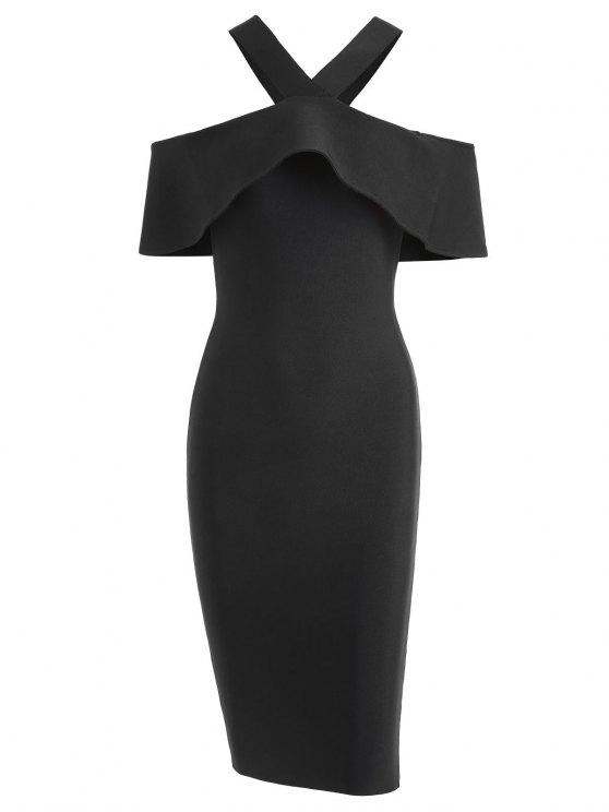 V Neck Flounce Hem Bandage Dress - Preto L