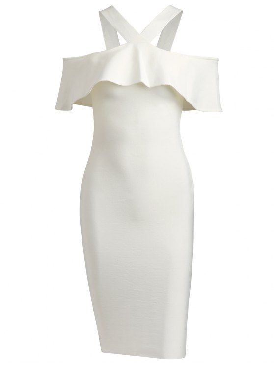 shops V Neck Flounce Hem Bandage Dress - WHITE L