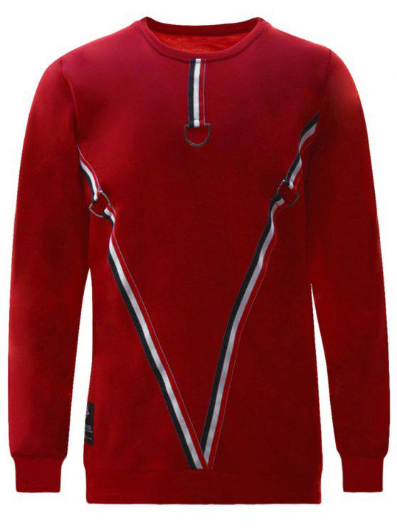 8382b942f8bc 30% OFF  2019 D-ring Striped Sweatshirt In RED