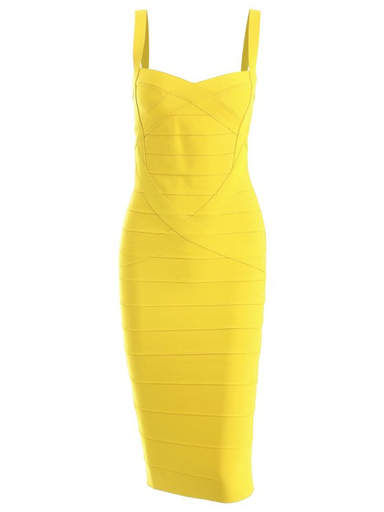 trendy Sweetheart Neck Bandage Dress - YELLOW L