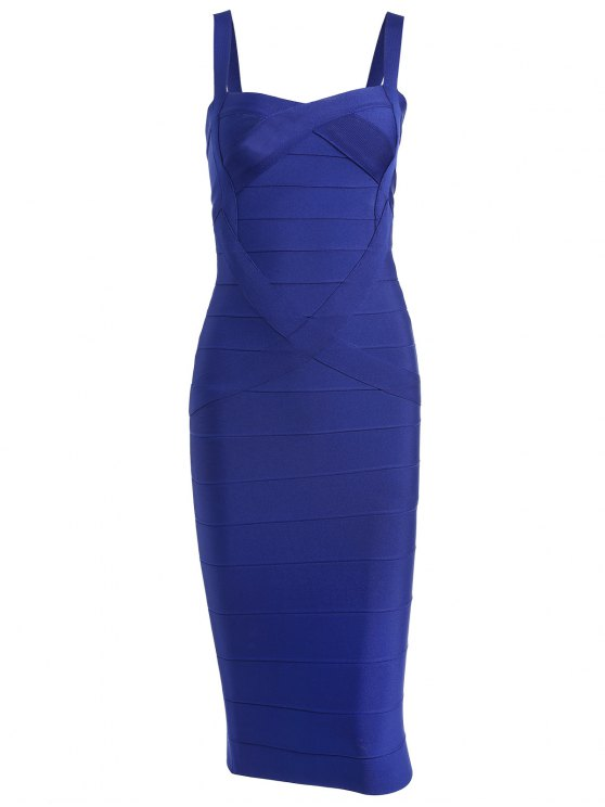 Vestido de vendaje de cuello cariño - Azul Claro L