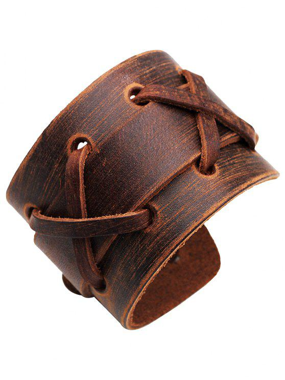 online Punk Style Artificial Leather Wide Bracelet - BROWN