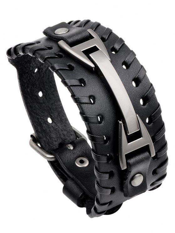 shops Punk Style Faux Leather Wide Bracelet - BLACK