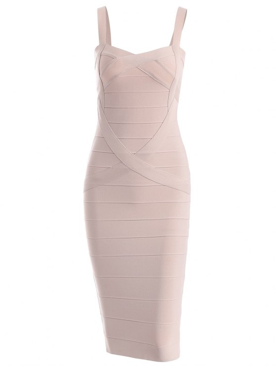 chic Sweetheart Neck Bandage Dress - APRICOT M