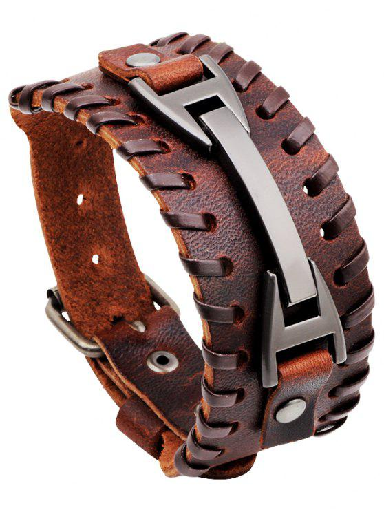 fashion Punk Style Faux Leather Wide Bracelet - BROWN