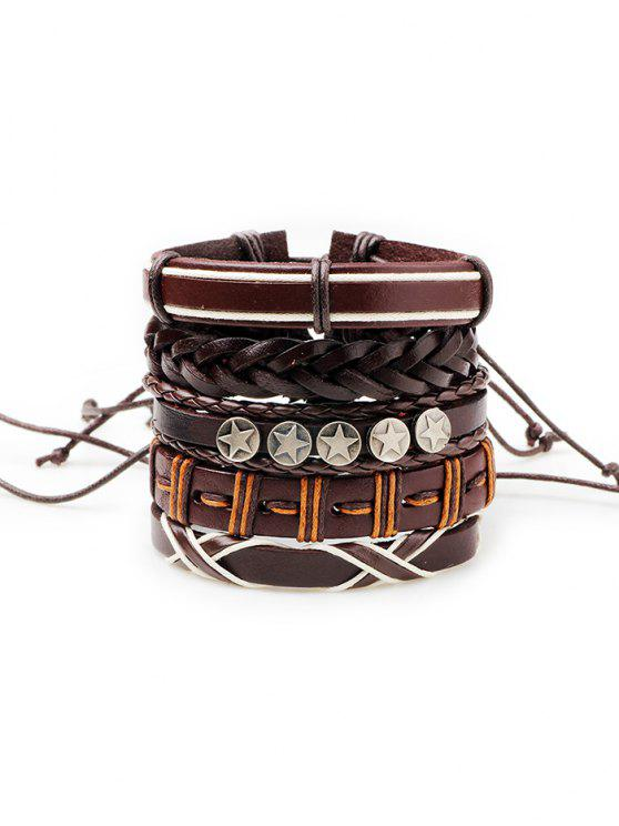 fancy 5Pcs Punk Style Faux Leather Bracelets Set - BROWN