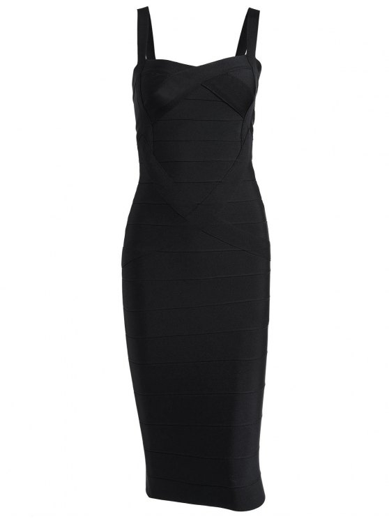 affordable Sweetheart Neck Bandage Dress - BLACK L