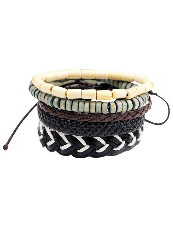 buy 5Pcs Punk Beaded Faux Leather Layered Bracelets - BLACK