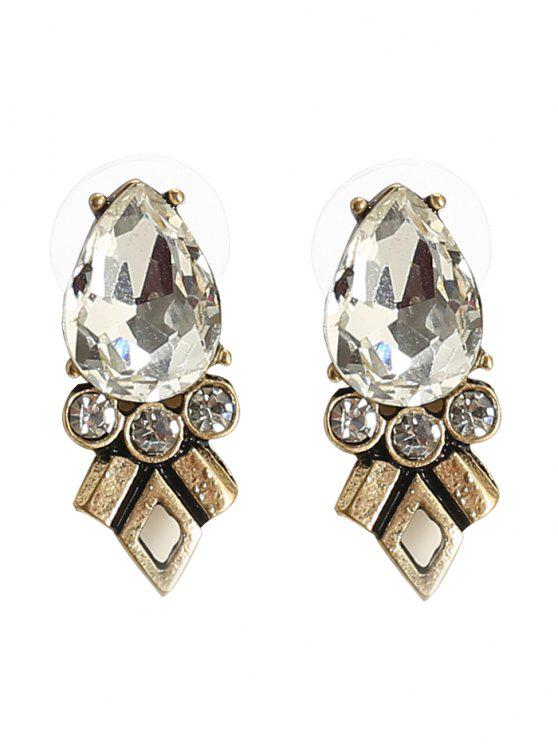 ladies Rhinestone Faux Crystal Geometric Teardrop Earrings - BRONZE