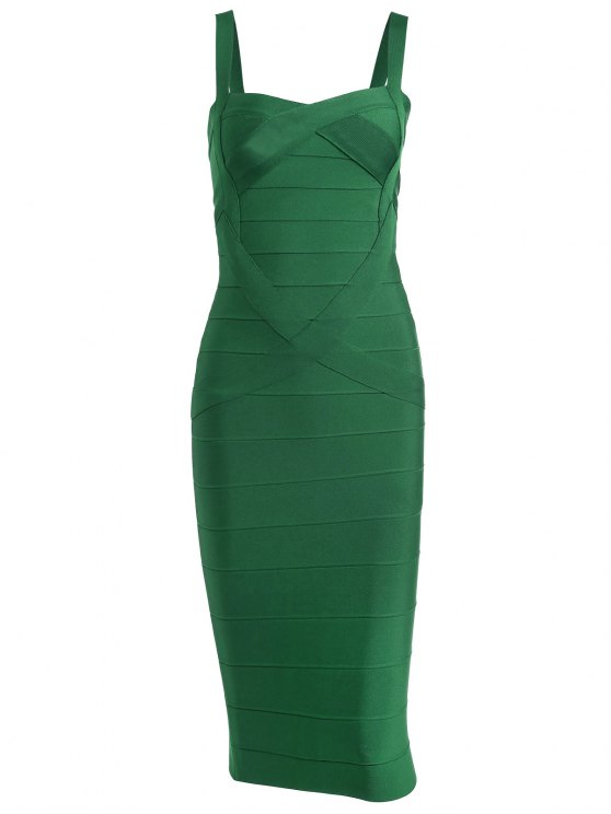 online Sweetheart Neck Bandage Dress - GREEN L