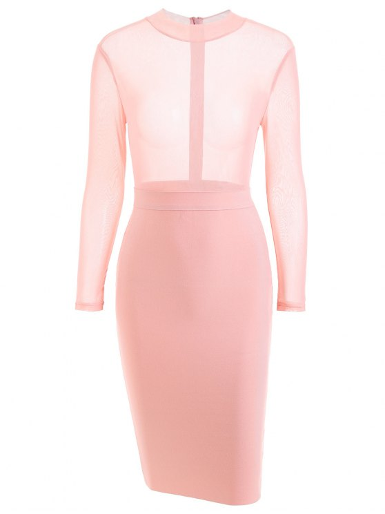 women Sheer Mesh Panel Bandage Dress - PINK S