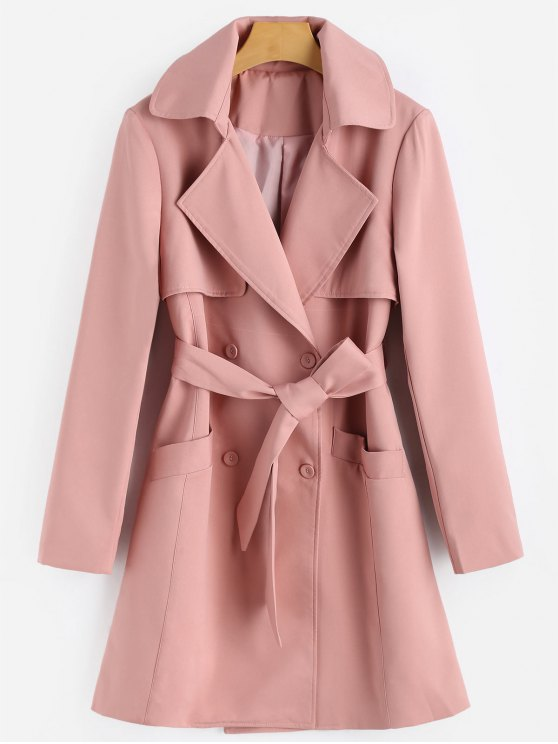 women's Belted Double Breasted Lapel Coat - PAPAYA L