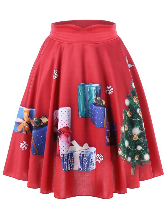 shops Christmas Plus Size Tree and Gift Print Midi Skirt - RED 3XL